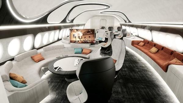 Produsen pesawat asal Prancis, Airbus, kembali hadir dengan konsep kabin baru bernama Harmony. Desain itu pun hadir layaknya kamar hotel yang luas dan nyaman (Airbus Corporate Jets)