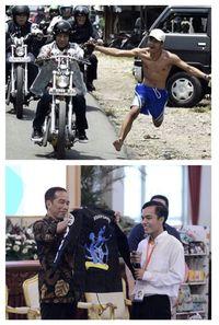 Foto Jokowi dicolek Bona (atas). Foto Jokowi beri jaket ke Bona (bawah)