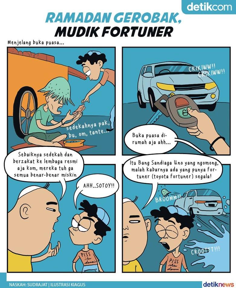 Kala Manusia Gerobak Naik Fortuner