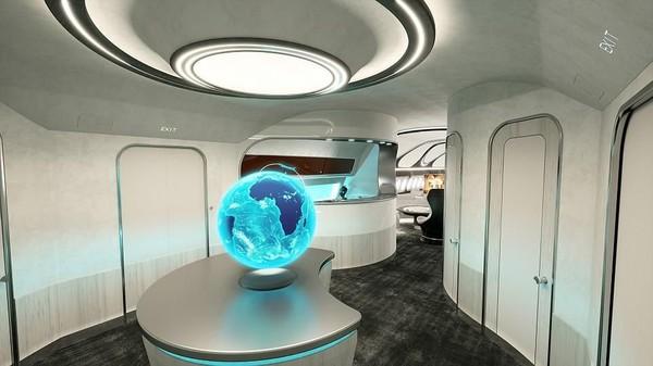 Salah satu ruang fungsional di dalam Hotel Class yang disertai dengan bola dunia penanda posisi pesawat (Airbus Corporate Jets)