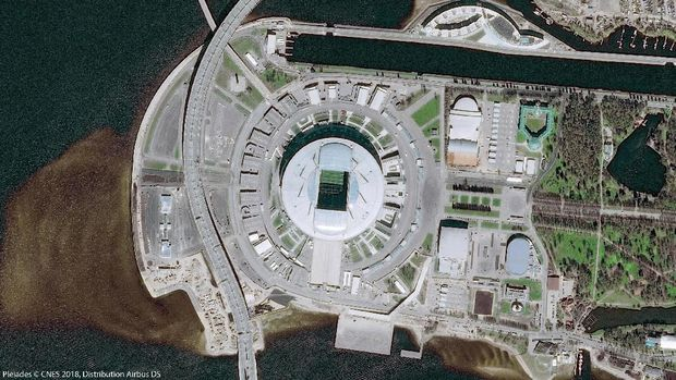A picture taken from the Pleiades satellites, operated by Airbus Defence and Space, and released by Airbus June 6, 2018 shows the Saint Petersburg Krestovsky Stadium, which will host matches of the 2018 FIFA World Cup in Saint Petersburg, Russia.    Pleiades/CNES 2018/Distribution Airbus DS/Handout via Reuters NO RESALES. NO ARCHIVES. THIS IMAGE HAS BEEN SUPPLIED BY A THIRD PARTY. IT IS DISTRIBUTED, EXACTLY AS RECEIVED BY REUTERS, AS A SERVICE TO CLIENTS