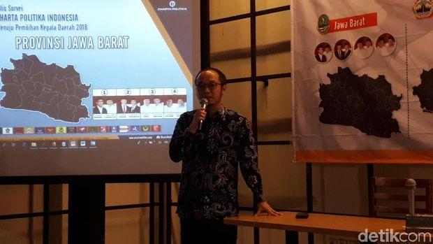 Direktur Eksekutif Charta Politika Yunarto Wijaya menyampaikan rilis survei Pilgub Jabar (Foto: Audrey Santoso/detikcom)