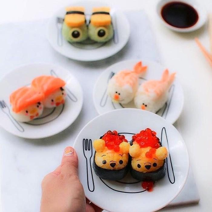 Karakter Tsum Tsum ini bisa dibuat sushi. Ada Donald Duck, Winnie The Pooh hingga Piglet yang tampil menggemaskan. Sayang ya buat dimakan? Foto: Istimewa