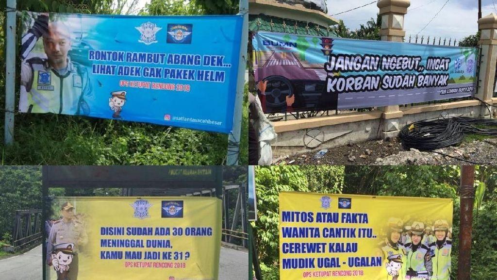 Polisi Pasang Spanduk Lucu dan Baperan agar Pemudik Hati-hati