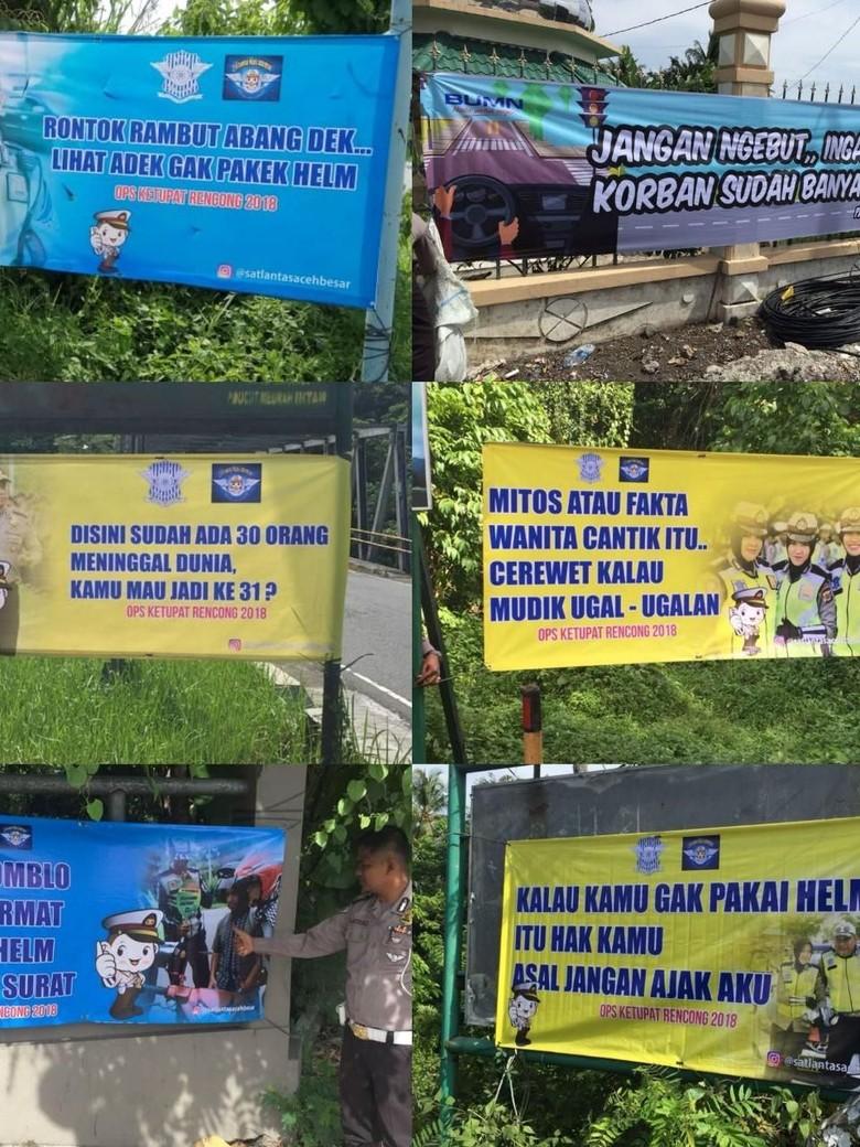 Ingatkan Pemudik Hati-hati, Polantas Aceh Besar Pasang Spanduk Lucu