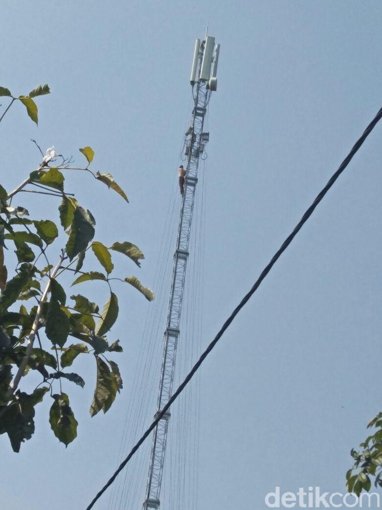 Gara-gara Tidak Naik Kelas, Bocah SMP ini Nangkring di Tower