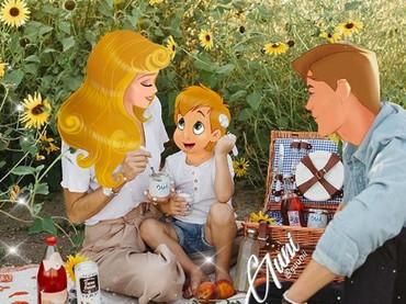 Piknik bersama keluarga. Kira-kira siapa ya nama jagoan ciliknya Aurora alias si Sleeping Beauty? (Foto: Instagram/ @iguunii)