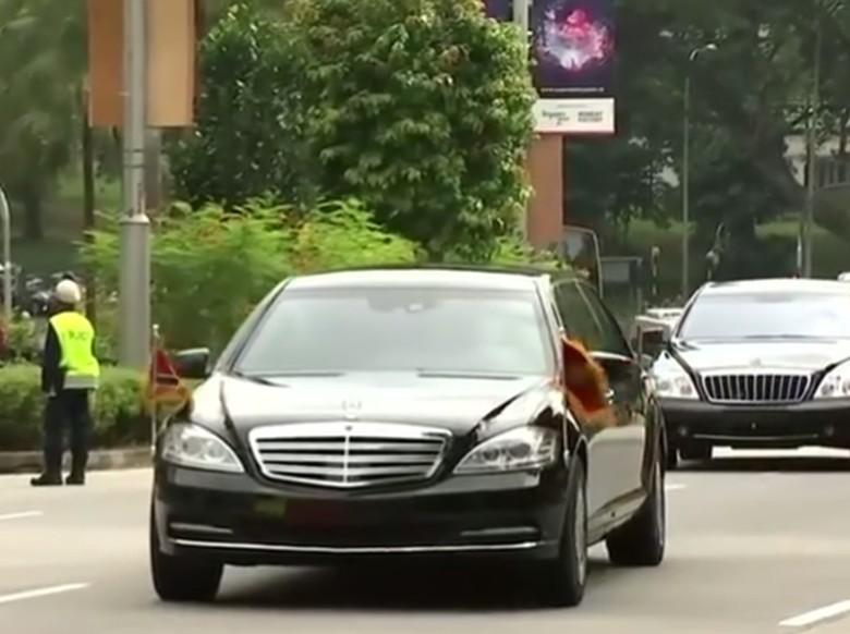 Konvoi mobil Kim Jong Un di Singapura. Foto: REUTERS