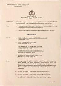 Surat perintah Wakapolri Polri soal pembentukan Tim Khusus Bantu Polda Sulsel Tangani Pilkada