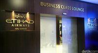Pintu masuk Lounge Kelas Bisnis Etihad (Wahyu/detikTravel)