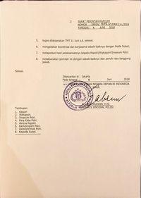 Surat perintah Wakapolri Polri soal pembentukan Tim Khusus Bantu Polda Sulsel Tangani Pilkada (Foto: Dok. Istimewa)