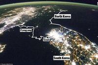 Korea Utara yang gelap gulita saat malam hari.