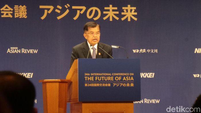 Foto: Wapres JK jadi pembicara di konferensi Future of Asia di Tokyo. (Niken-detikcom)