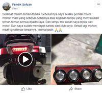 Permintaan Maaf Pemilik Motor yang Menyilaukan.