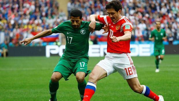 Arab Saudi kesulitan membangun serangan dalam laga perdana Piala Dunia 2018.