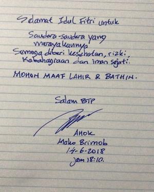 Ahok Ucapkan Selamat Idul Fitri Lewat Tulisan Tangan