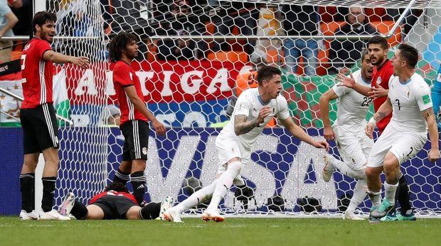Timnas Uruguay menang di laga pembuka mereka di Grup A Piala Dunia 2018.