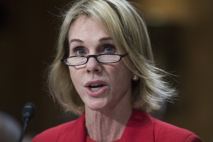UNITED STATES - JULY 20: Kelly Knight Craft, nominee to be ambassador to Canada, attends her Senate Foreign Relations Committee confirmation hearing in Dirksen Building on July 20, 2017. (Photo By Tom Williams/CQ Roll Call)