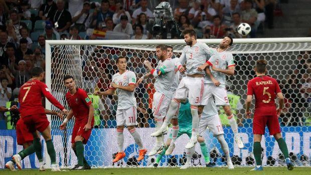 Ronaldo mencetak hattrick pertama di Piala Dunia 2018.