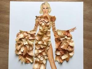 Keren! Seniman Ini Bikin Gambar Model yang Pakai Gaun Makanan