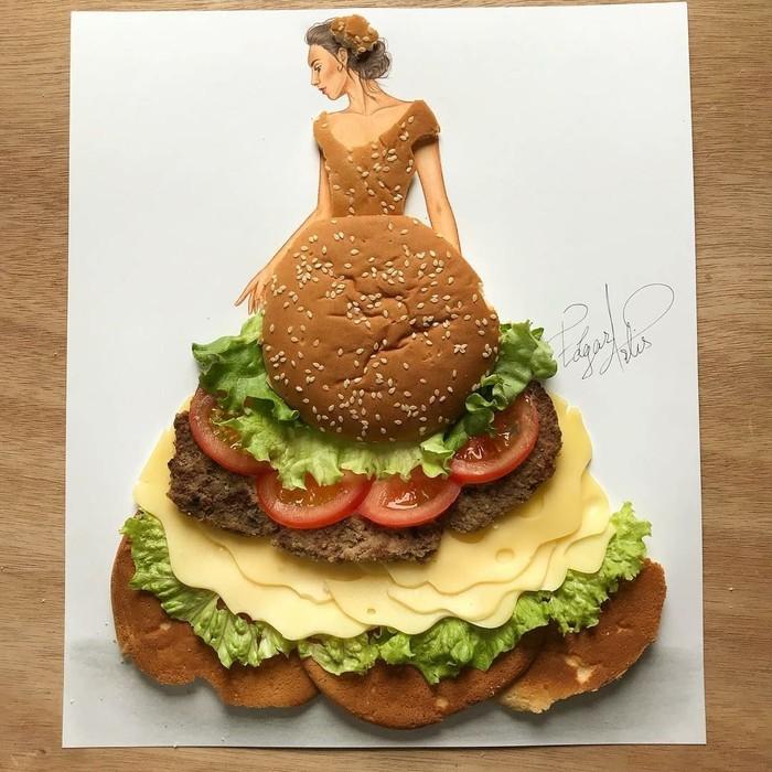 Pantas saja akun @edgar_artis memiliki 758ribu pengikut. Ternyata karya-karyanya memang sangat unik dan kreatif. Salah satunya gambar wanita yang mengenakan gaun dari burger ini. Foto: Instagram edgar_artis