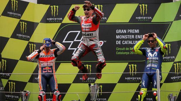 Jorge Lorenzo, Marc Marquez, dan Valentino Rossi meraih podium MotoGP Catalunya 2018.