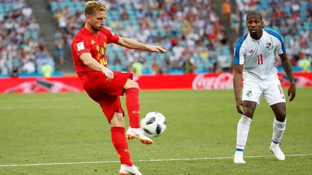 Belgia baru mampu menciptakan gol di babak kedua saat melawan Panama.