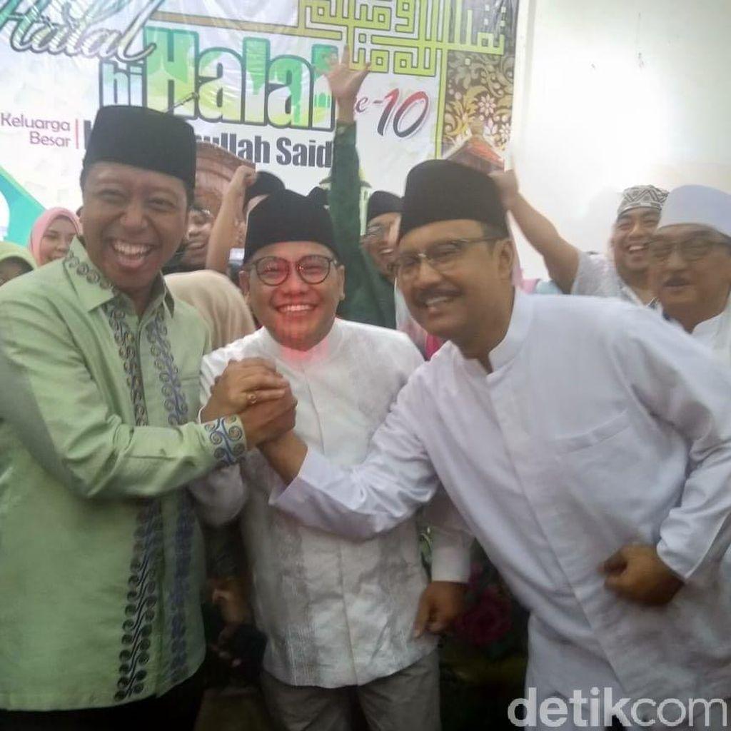 Cak Imin, Gus Rommy dan Gus Ipul di Halal Bihalal Bani Hasbullah