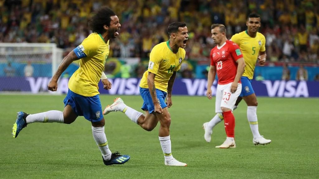 Babak 1: Brasil Ungguli Swiss 1-0 Lewat Gol Indah Coutinho