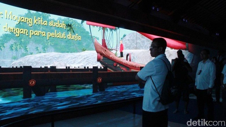 Versi digital Kapal Samudraraksa di area Candi Borobudur (Pertiwi/detikTravel)