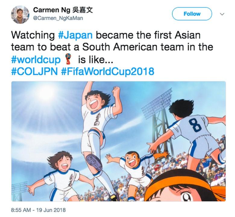 Kegembiraan Jepang digambarkan dengan komik sepakbola terkenal asal negara itu, Captain Tsubasa. Foto: istimewa