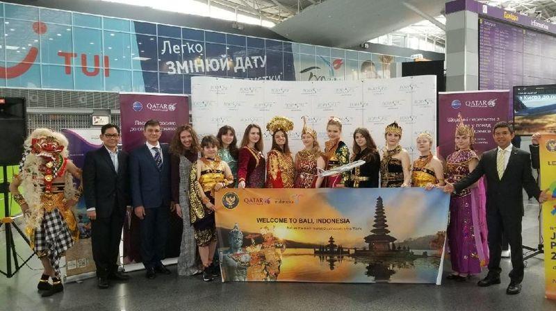 KBRI Kiev melakukan promosi wisata Indonesia dengan menggandeng Qatar Airways sebagai mutual partner di Bandara Boryspil Kiev (dok KBRI Kiev)