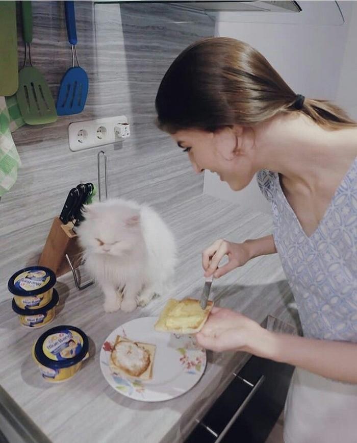 Bersama kucing kesayangannya, wanita berusia 22 tahun ini terlihat sedang menyiapkan makanan untuk keluarga. Beberapa lembar roti yang dioles margarin ditambah dengan telur siap jadi sajian istimewa. Foto: Instagram @mikailapatritz