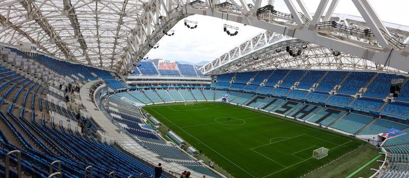 Stadium Fisht di Kota Sochi menjadi aksi bisu dari aksi gol Hat-trick Cristiano Ronaldo ke gawang Spanyol (AFP)