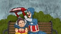 Seniman Rusia, Lesya Guseva membuat poster lucu berisikan para superhero yang telah pensiun dan menua berjudulkan Pensioner. Foto: Dok. Instagram/_lesya_guseva_