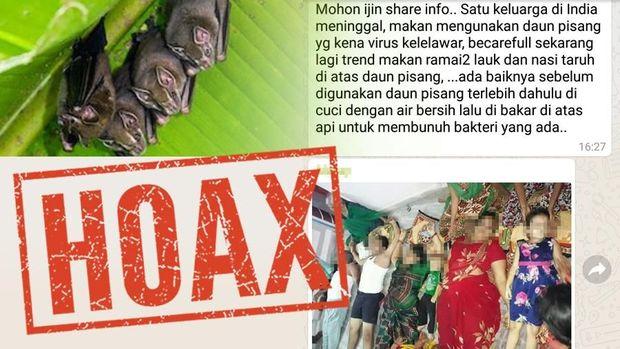 Informasi satu keluarga yang tewas karena daun pisang itu hoax.