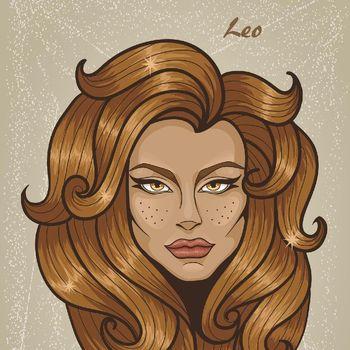Ilustrasi zodiak Leo.