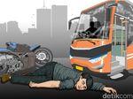 Masuk Jalur TransJ, Pemotor Tewas Tertabrak Bus di Jaktim