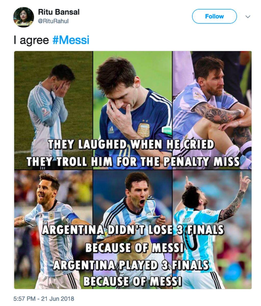 Mereka tertawa ketika dia menangis, mereka mengejeknya karena gagal penalti. Padahal Argentina tidak kalah 3 final karena Messi, Argentina masuk ke final karena Messi, tulis netizen ini. Foto: istimewa