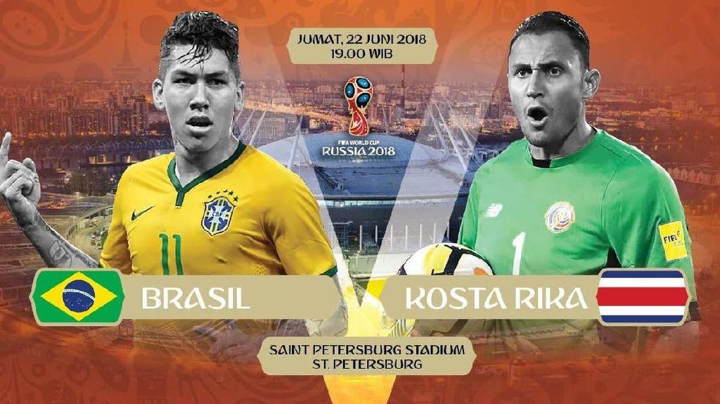 Live Report Piala Dunia 2018: Brasil vs Kosta Rika