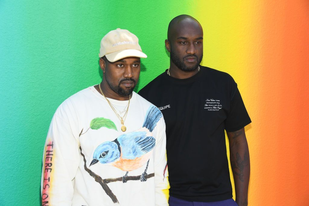 PARIS, FRANCE - JUNE 21: Kanye West and Virgil Abloh after the Louis Vuitton Menswear Spring/Summer 2019 show as part of Paris Fashion Week on June 21, 2018 in Paris, France.  (Photo by Pascal Le Segretain/Getty Images)