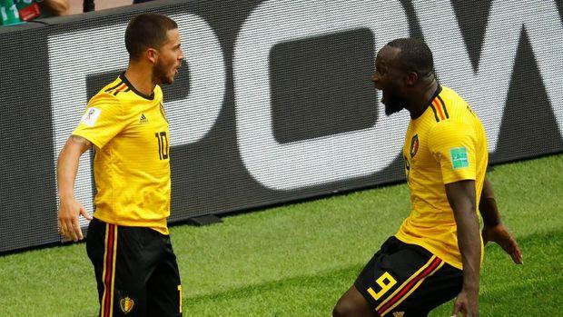 Romelu Lukaku dan Eden Hazard menjadi amunisi penting Belgia saat mengalahkan Tunisia.