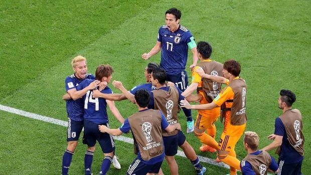Jepang berhasil menyamakan kedudukan di menit ke-34.