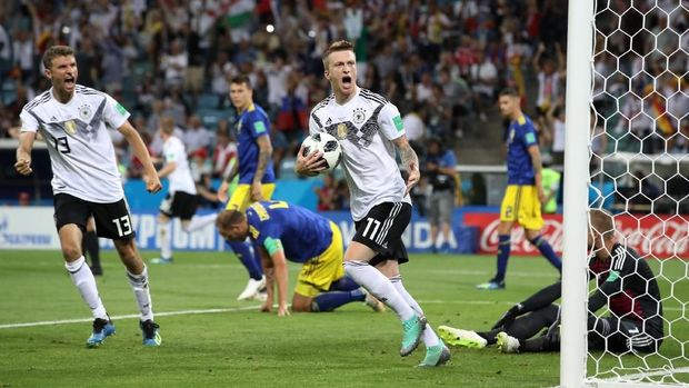 Marco Reus cetak gol pertamanya di Piala Dunia.