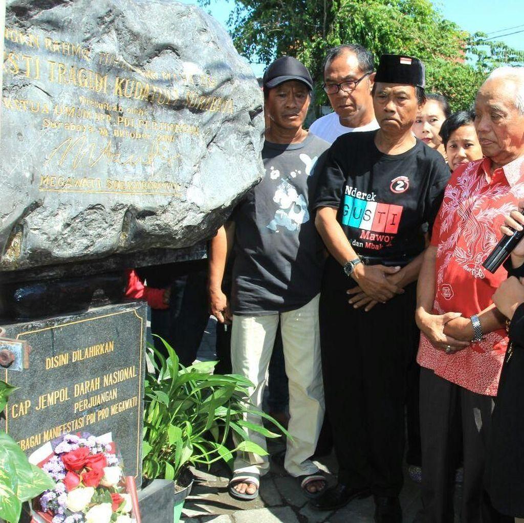 Masa Tenang, Puti Napak Tilas Posko PDI Pro Mega di Surabaya