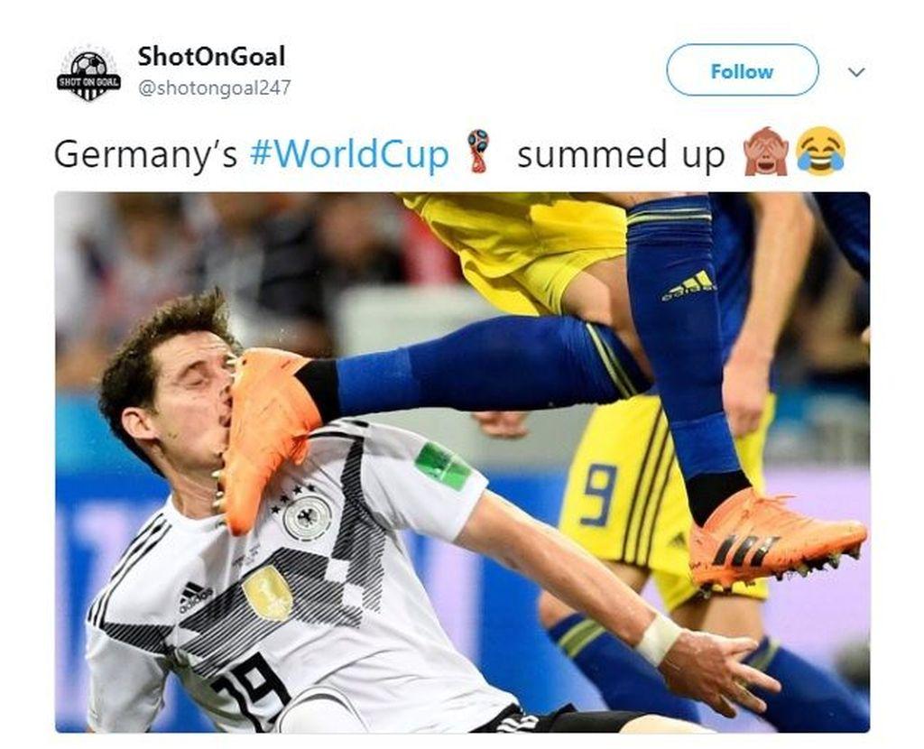 Foto ini sempat menjadi gambaran perjalanan Jerman di Piala Dunia 2018 yang bisa dibilang berantakan. Foto: Meme/Twitter