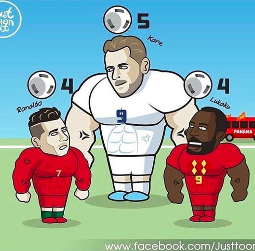 Dengan 5 gol, Harry Kane menjadi top skor sementara Piala Dunia 2018 mengungguli Cristiano Ronaldo dan Romelu Lukaku. Foto: istimewa