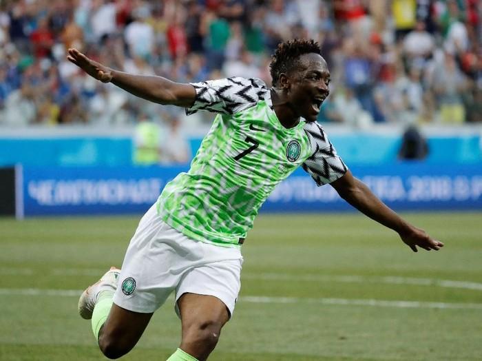 Soccer Football - World Cup - Group D - Nigeria vs Iceland - Volgograd Arena, Volgograd, Russia - June 22, 2018   Nigerias Ahmed Musa celebrates scoring their second goal    REUTERS/Toru Hanai