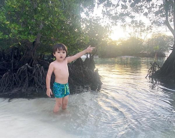 Terlihat El Barack sangat senang bermain di tepi pantai. Yap, Pulau Simakakang memiliki air laut yang jernih dan tidak berombak. (inijedar/Instagram)