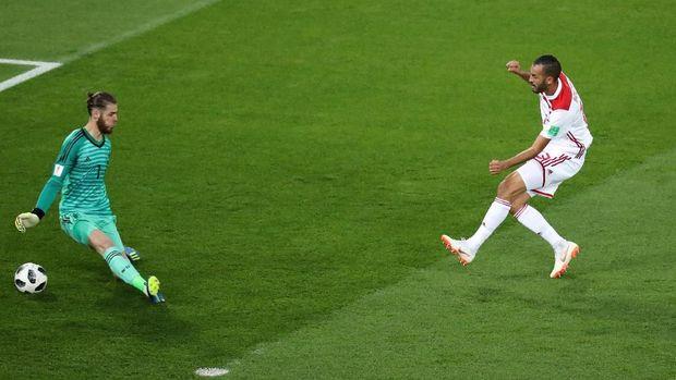 David De Gea hanya mampu menyelamatkan satu tembakan saat melawan Maroko.